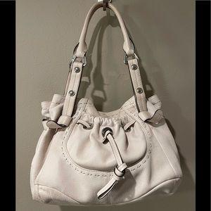 B. Makowsky Soft Leather Cream Shoulder Bag